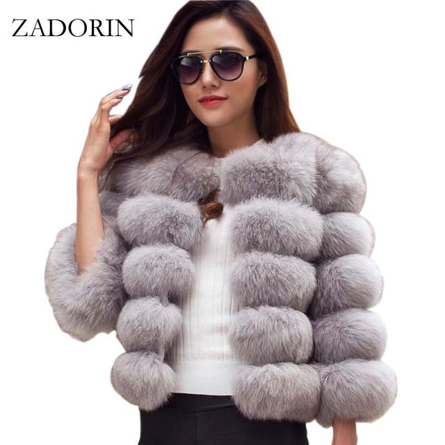 05402253c ZADORIN S-3XL Mink Women 2018 Winter Pink FAUX Fur Coat Elegant ...