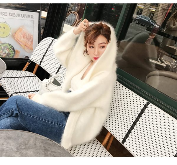 Beatiful Hooded White Mink Cashmere Sweater-Women's