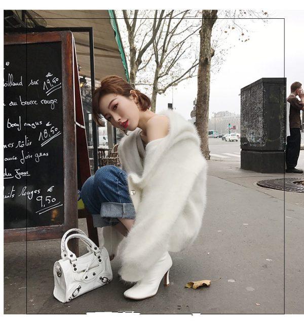 New Women's White Cashmere Sweater