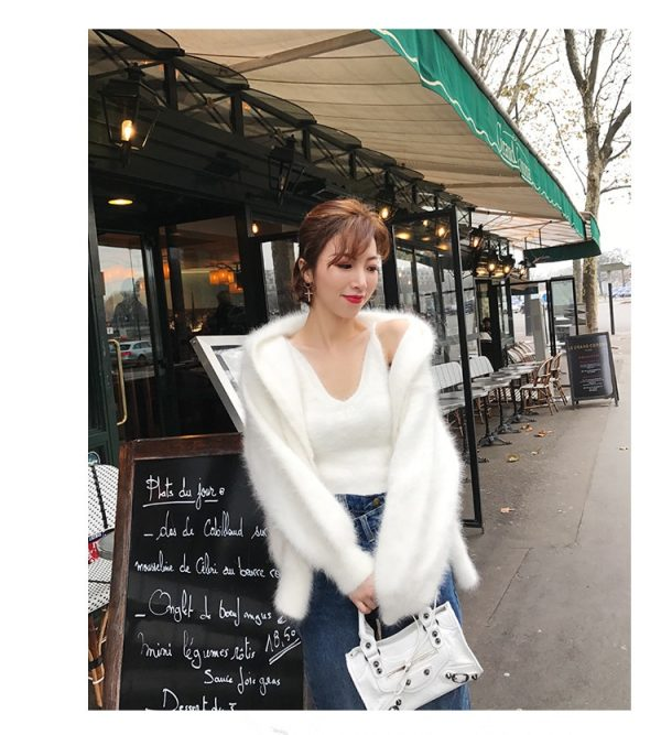 White Mink Hooded Cashmer Sweater