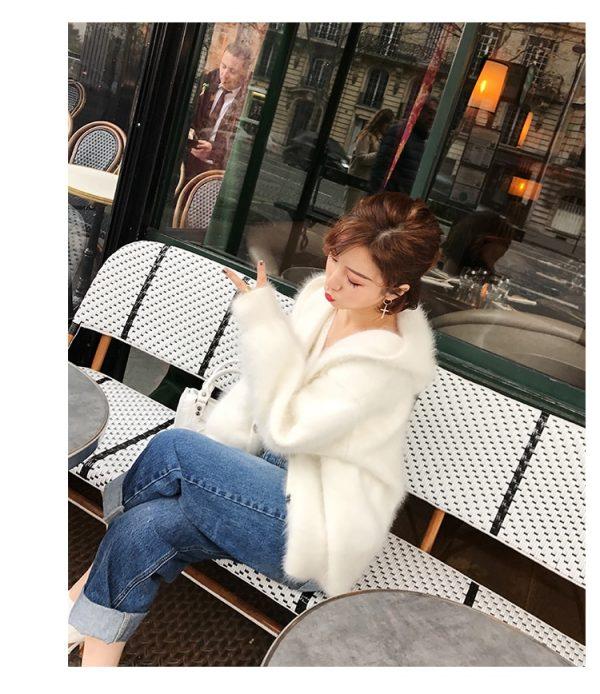 White Women's Mink Cashmere Sweater