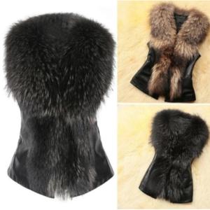 Leather and Faux Fur Vest