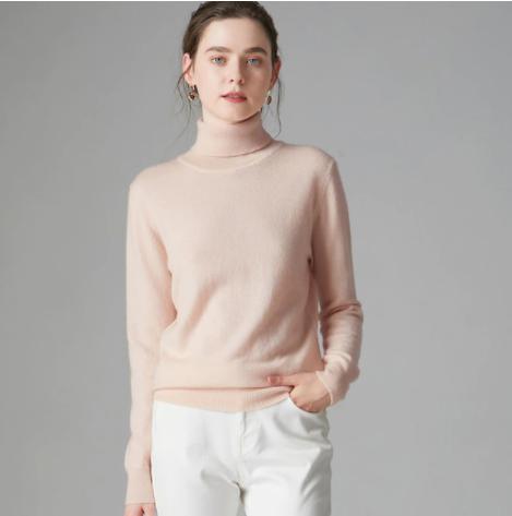 Mena-sheep Turtleneck Cashmere Sweaters Beige