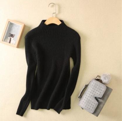 Women high collar sweater Black