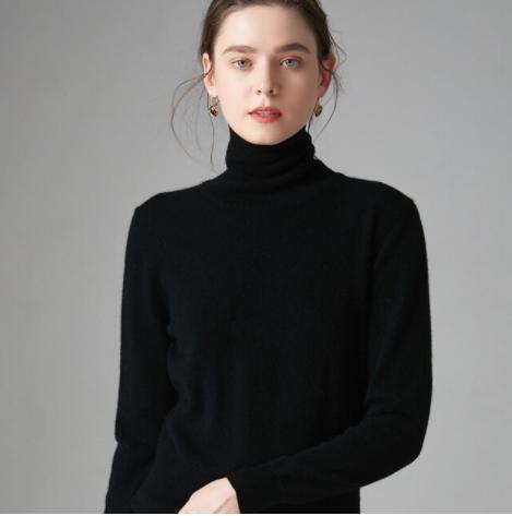 Mena-sheep Turtleneck Cashmere Sweaters Black