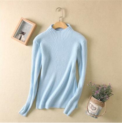 Women high collar sweater Lt Blue