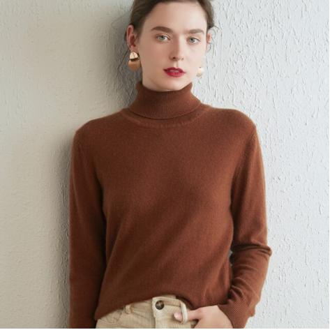 Mena-sheep Turtleneck Cashmere Sweaters Brown