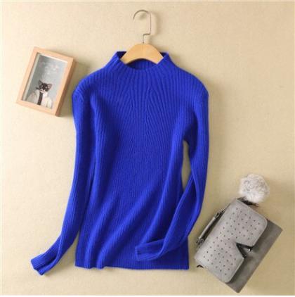 Women high collar sweater Dk Blue