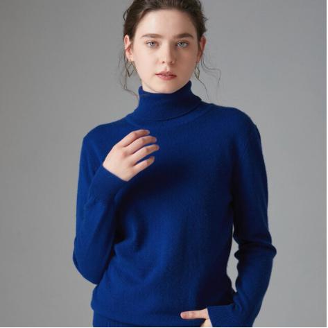 Mena-sheep Turtleneck Cashmere Sweaters Dk Blue