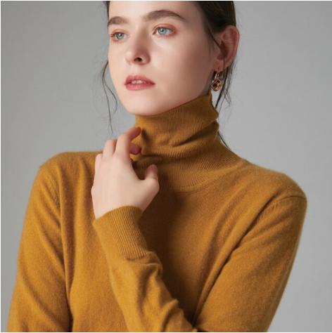 Mena-sheep Turtleneck Cashmere Sweaters Dk Yellow