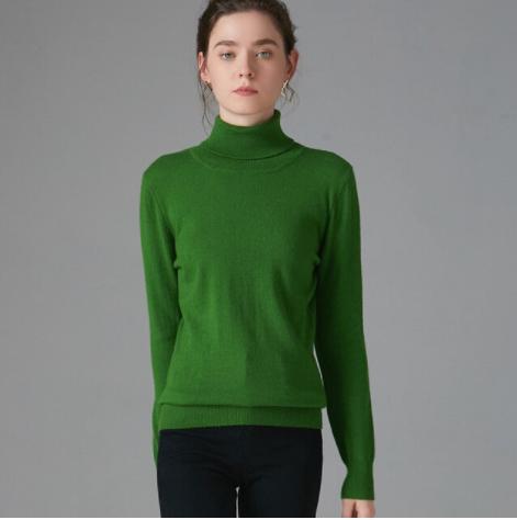 Mena-sheep Turtleneck Cashmere Sweaters Green