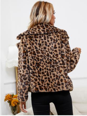 Leopard Print Fur Coat Back View