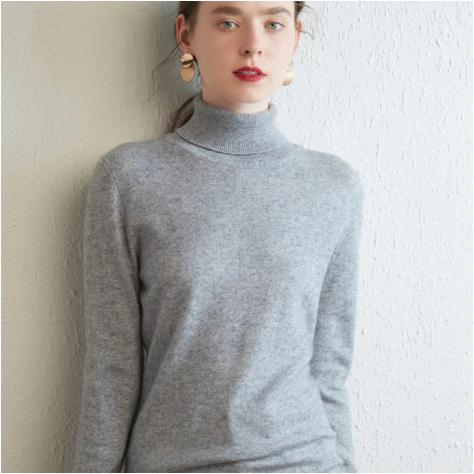 Mena-sheep Turtleneck Cashmere Sweaters Lt Gray