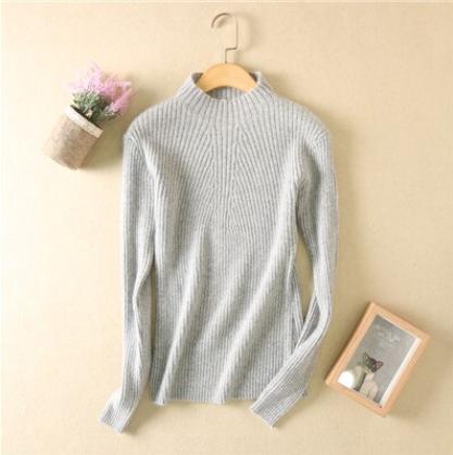 Women high collar sweater Lt Gray