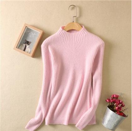 Women high collar sweater Pink