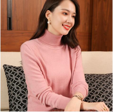 Mena-sheep Turtleneck Cashmere Sweaters Pink