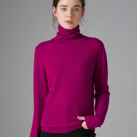 Mena-sheep Turtleneck Cashmere Sweaters Purple Red