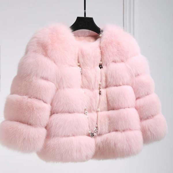 Pink Women's Faux Fur Coat