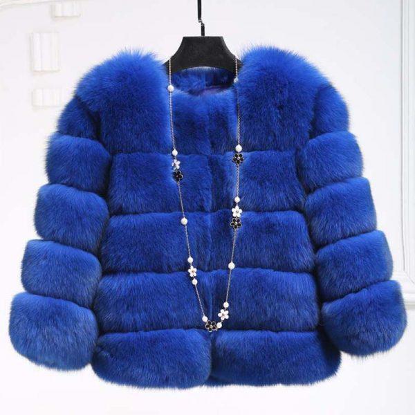 Blue Women's Fur Coat - Mink