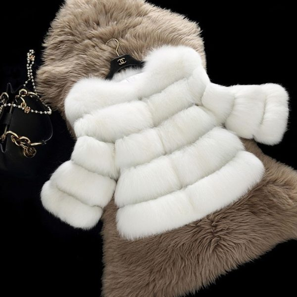 White Winter Faux Fur Coat