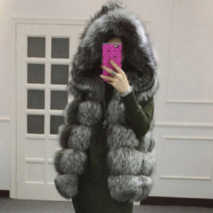 Faux Fur Casual Hoodies Silver Front View