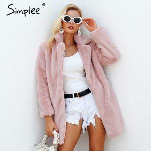 Elegant Faux Fur coat pink