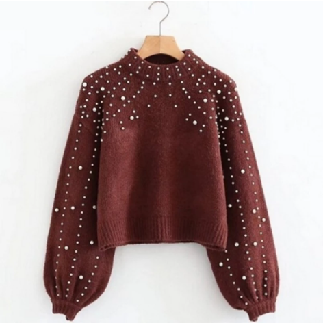 Sexy Knitted Casual Pullover Wine Red
