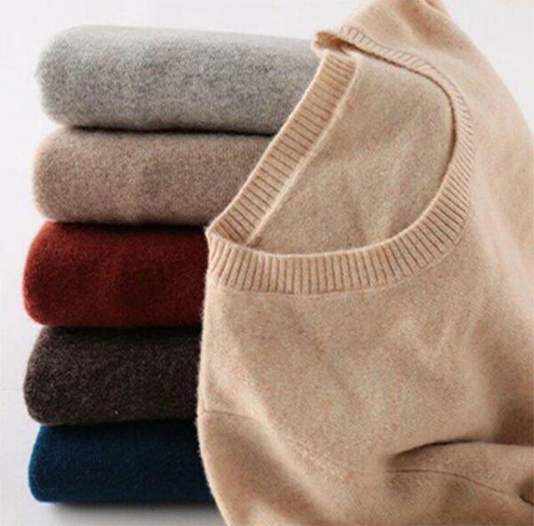 Merino Wool Cashmere Round Neck Sweaters