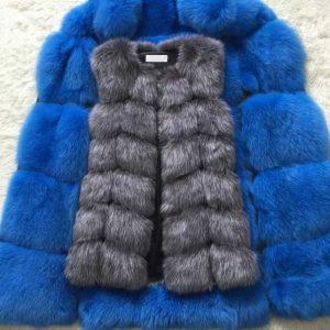 Faux Silver Fox vest