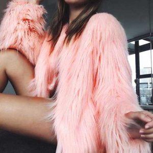 Furry Faux Fur Coat Pink
