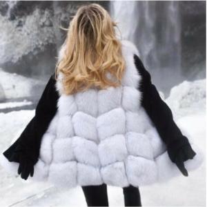 Faux Fur Long Vest White Back