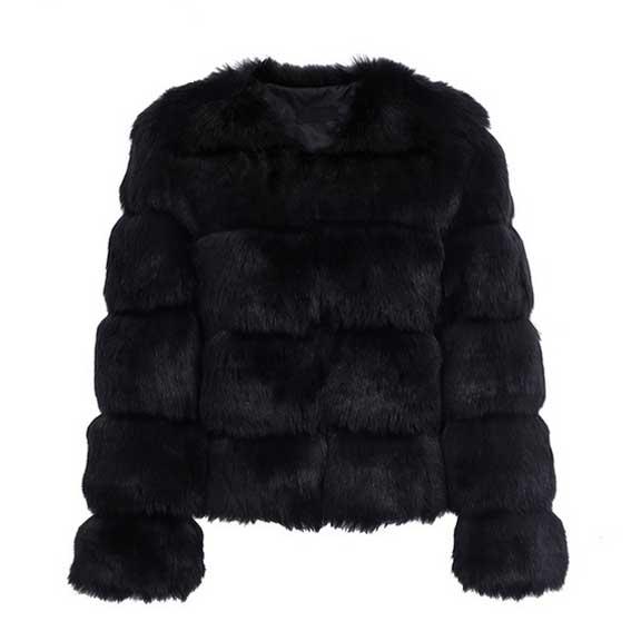 Black Fur Coat for Women- Fluffy