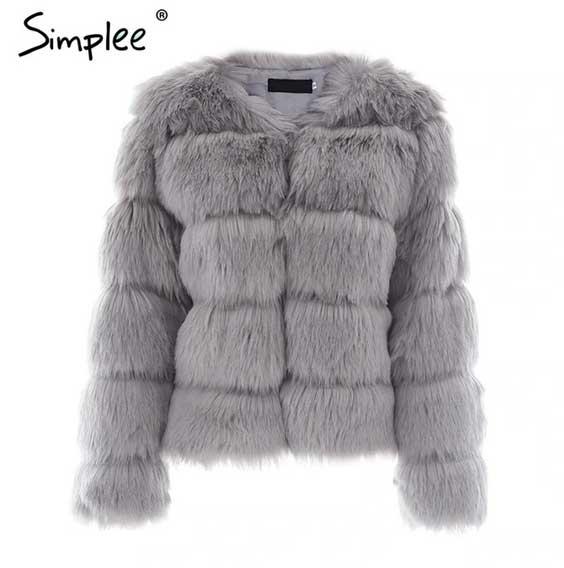 Grey Women's Fluffy Fur Coat