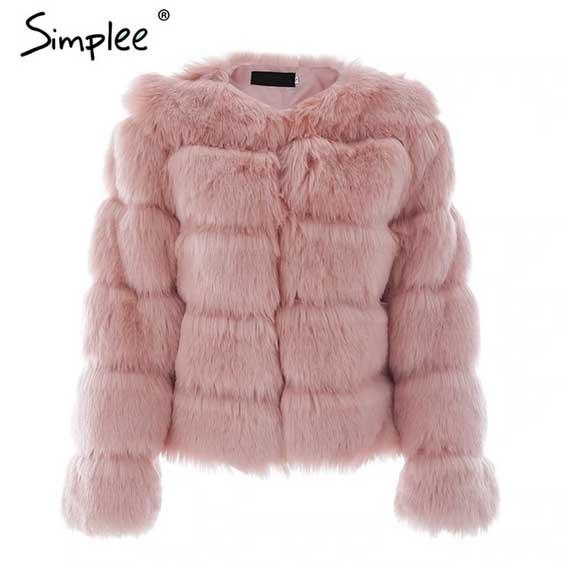 Women's Pink Fluffy Fur Coat