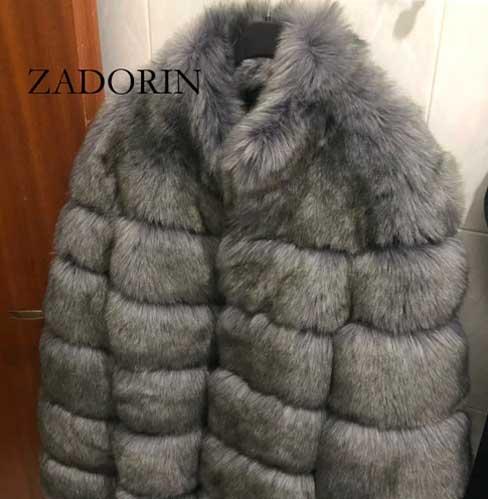 Dark Grey Winter Fur Coat-Faux