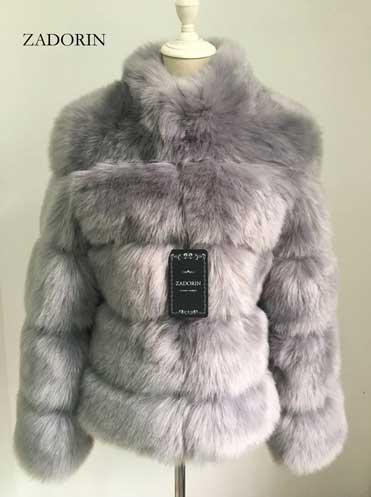 Grey Women's Faux Fur Coat