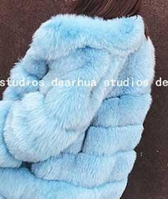 Light Blue Fur Coat -Womens