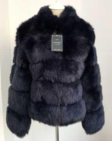 Black ZADORIN Fur Winter Coat