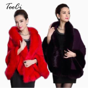 red- black Faux Fur Poncho